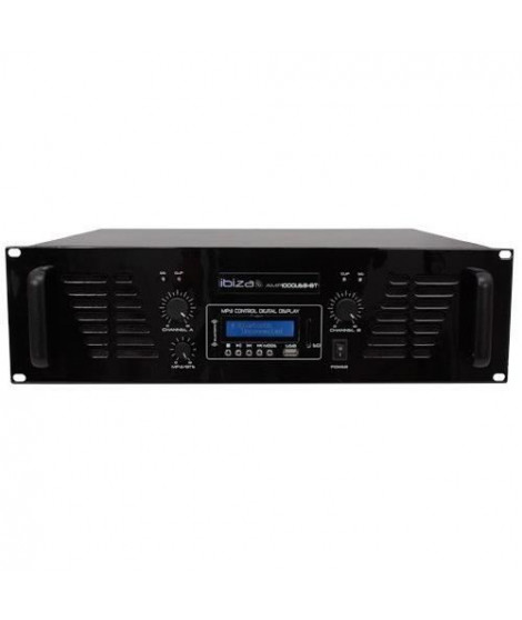 IBIZA SOUND AMP1000USB-BT Amplificateur de sonorisation avec Bluetooth USB - 2 x 800W - Noir