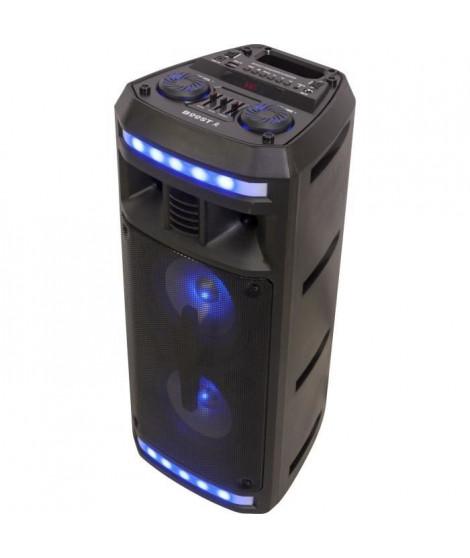 "BOOST 10-7138BO Enceinte active autonome a LED - Bluetooth, USB, micro-SD, Tuner FM - 2 x 6,5"" / 16 cm - 280 W - Noir"