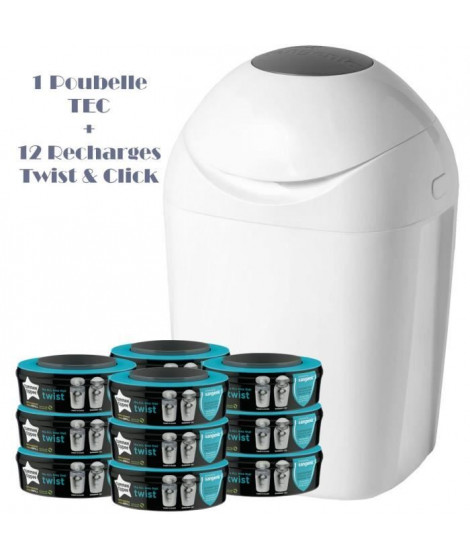 Tommee Tippee - Starter Pack - Poubelle a couche TEC + 12 recharges Twist & Click - Blanc