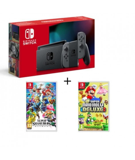 Pack Nintendo Switch Grise + New Sup.Mario Bros U Deluxe + Super Smash Bros Ultimate