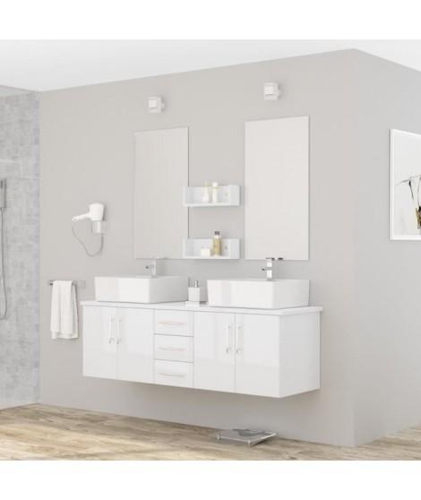 DIVA Salle de bain complete double vasque 150 cm - Laqué blanc brillant