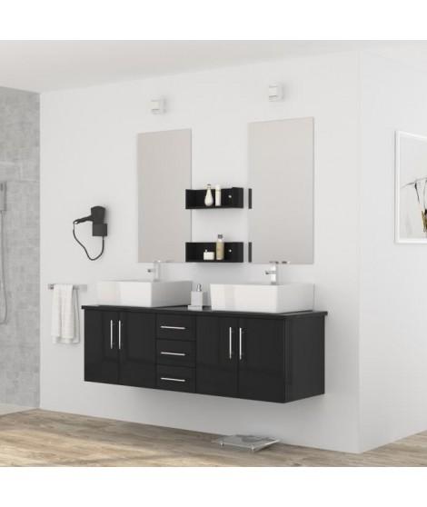 DIVA Salle de bain complete double vasque 150 cm - Laqué noir brillant