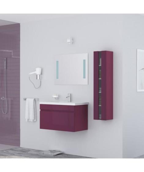 ALBAN Salle de bain complete simple vasque 80 cm - Laqué aubergine brillant