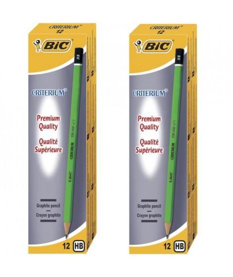 Lot de 2 BIC Criterium 550 Crayons a Papier - HB, Boîte de 12