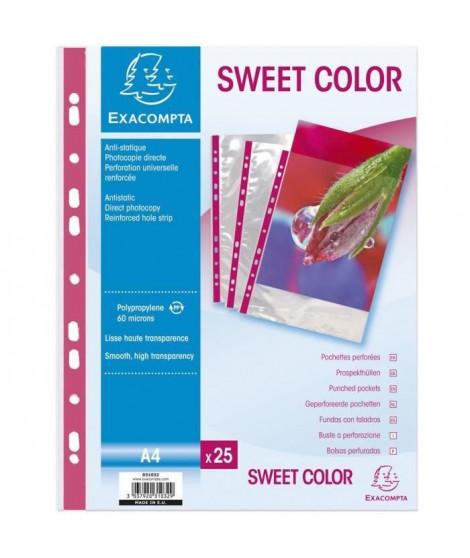EXACOMPTA 25 Pochettes perforées - Bande de renfort Fushia - A4 - Polypropylene lisse incolore 55µ - 11 trous - Sous film (Lo…