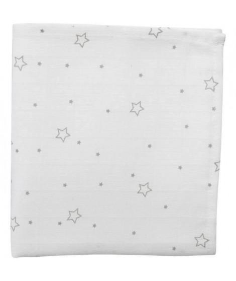 DOMIVA Maxi lange - Bambou 120g/m2 - 120x120 cm - Imprimé étoile gris (Lot de 2)