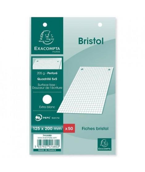 EXACOMPTA - 50 fiches Bristol blanches - Perforées - 12,5 x 20 - 5 x 5 - Papier P.E.F.C 205G (Lot de 3)