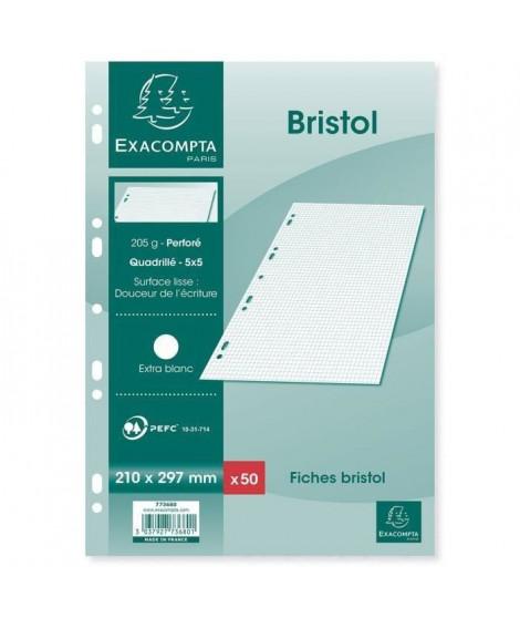 EXACOMPTA - 50 Fiches Bristol blanches - 21 x 29,7 - Non perforées - 5 x 5 (Lot de 3)