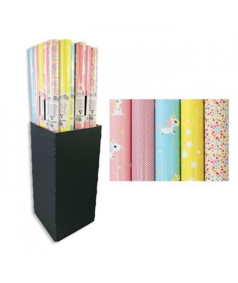 CLAIREFONTAINE Carton présentoir Licorne - Sous film - 80 g/m² - 5 motifs assortis (Lot de 3)