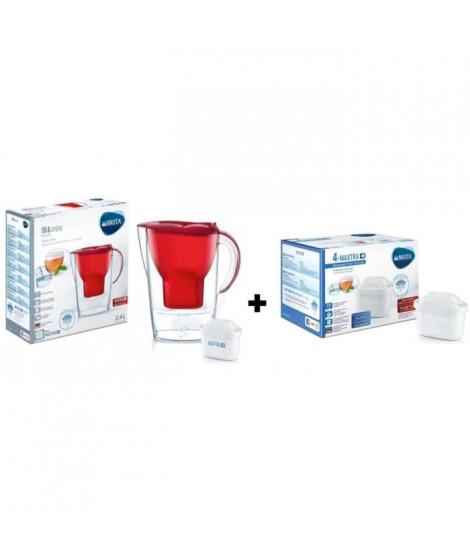 BRITA Pack de 4 cartouches MAXTRA+ pour carafes filtrantes + BRITA Carafe filtrante MARELLA Rouge + 1 Cartouche de rechange