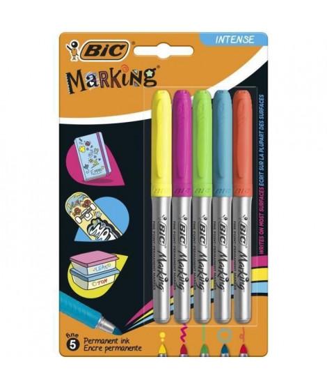 BIC Marking Marqueurs Permanents a Pointe Moyenne - Couleurs Intense Assorties, Blister de 5 (Lot de 3)