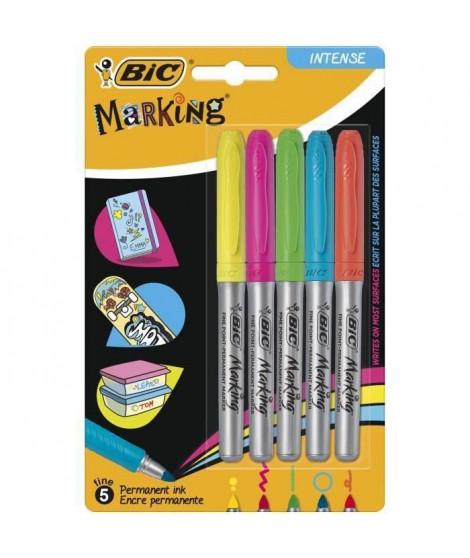 BIC Marking Marqueurs Permanents a Pointe Moyenne - Couleurs Pastel Assorties, Blister de 5 (Lot de 3)
