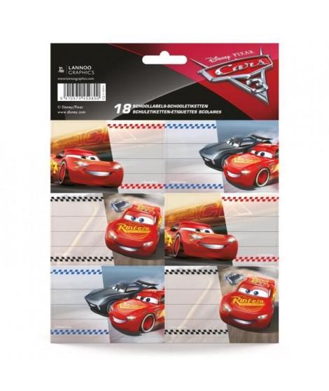 DISNEY CARS SD Etiquettes scolaire - Pochettes de 18 pieces - 3 feuilles de chacune - 6 étiquettes - Mix (Lot de 3)