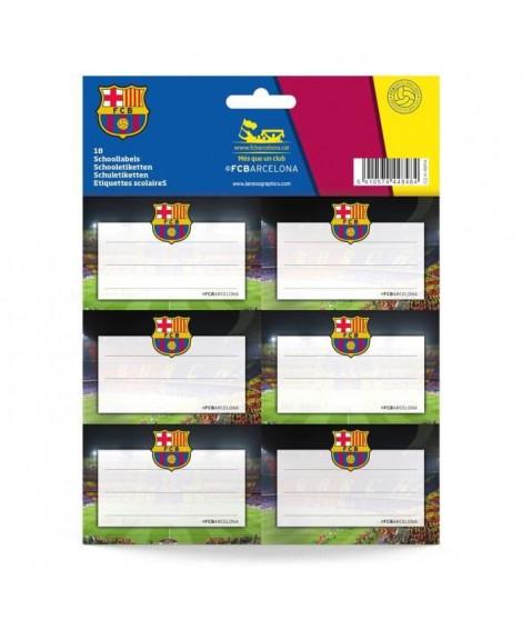 FC BARCELONA Pochette de 18 étiquettes scolaires - Mix (Lot de 3)