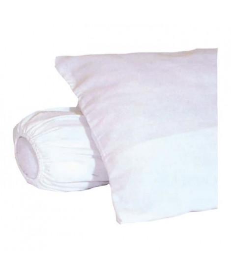 Sous-taie d'oreiller molleton 100% coton gratté 60x60 cm blanc (Lot de 2)