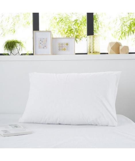 SWEETNIGHT Protege-oreiller bouclette SIMON 50x70 cm - Blanc (Lot de 2)