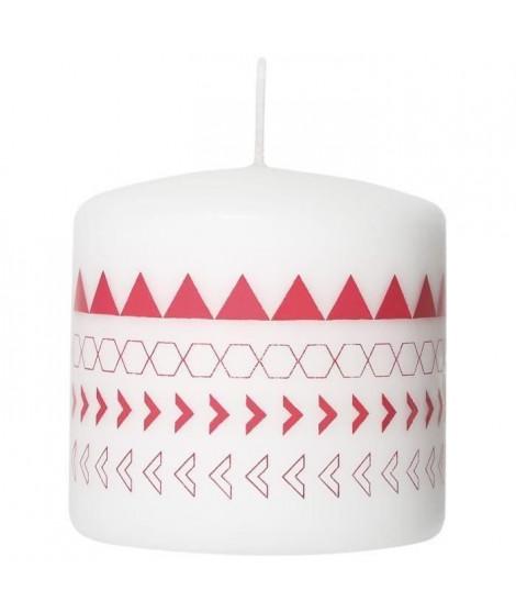 LE CHAT Bougie cylindrique - Ø 7,8 x H 7,5 cm - Blanc avec décor rose corail (Lot de 3)
