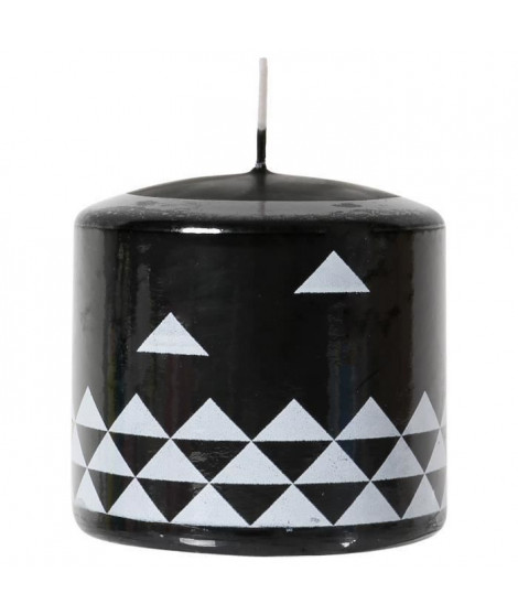 LE CHAT Bougie cylindrique - Ø 7,8 x H 7,5 cm - Blanc avec décor noir (Lot de 3)