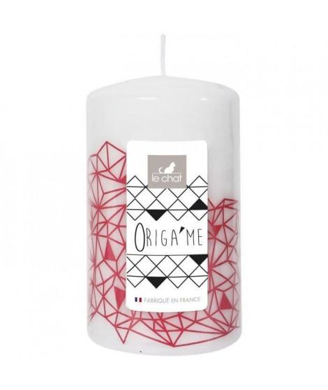 LE CHAT Bougie cylindrique - Tete plate - Ø 6,8 x H 11,5 cm - Blanc avec décor rose corail (Lot de 3)