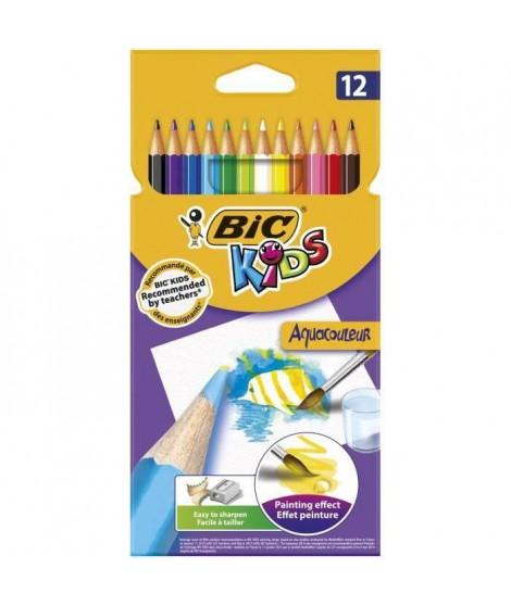 BIC Kids Aquacouleur Crayons de Couleur Aquarellables pour Effet Peinture - Coloris Assortis, Etui Carton de 12 (Lot de 3)