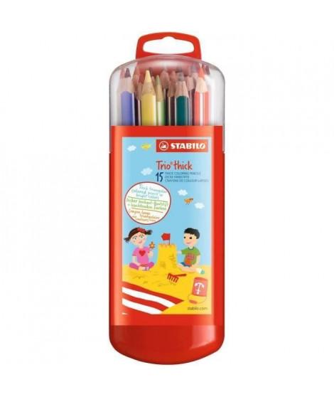 STABILO Etui malin de 15 Crayons de couleur Trio (Lot de 3)