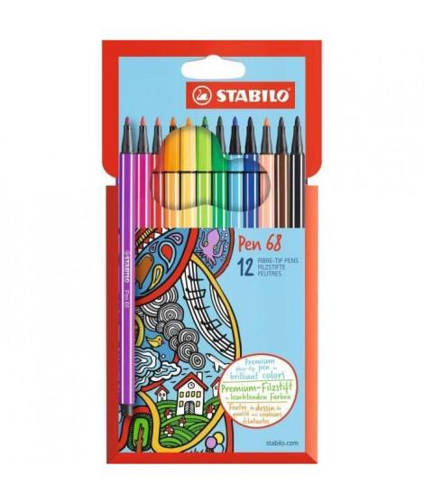 STABILO Etui carton de 12 feutres de coloriage Pen 68 (Lot de 2)
