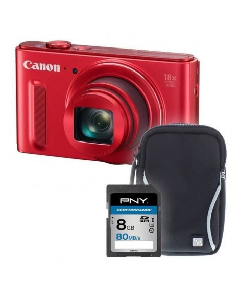 SX610 rouge + sacoche + carte 8Go - Appareil photo compact