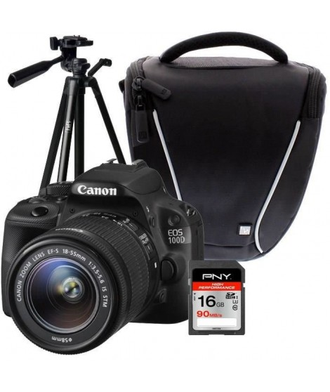 CANON EOS 100D + 18-55 IS STM + Trépied + Sacoche + Carte 16Go