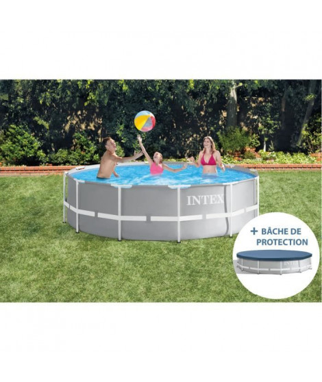 INTEX Kit Piscine Prism Frame 26718XA ronde tubulaire - 3m66 x 1m22 + Bâche de protection