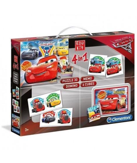 CLEMENTONI Edukit 4 en 1 - Cars 3 - Mémo, Domino, Puzzle et Cubes - jeu éducatif - 13710