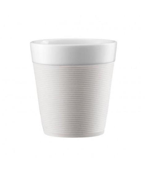 BODUM Set de 2 mugs en porcelaine avec bande silicone Bistro 0,17 L blanc creme