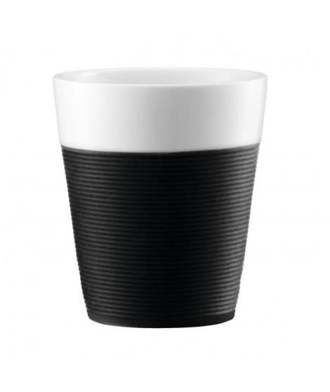 BODUM Set de 2 mugs en porcelaine avec bande silicone Bistro 0,3 L noir et blanc