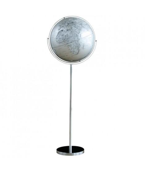 SIGN Globe politique non lumineux sur pied métal Ø 42,5 cm - Cartographie fond bleu et pays argenté