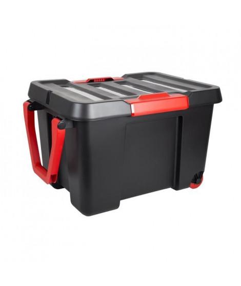 EDA Lot de 4 Malles de rangement Stock'R - 120 L  - Noir et rouge - En plastique