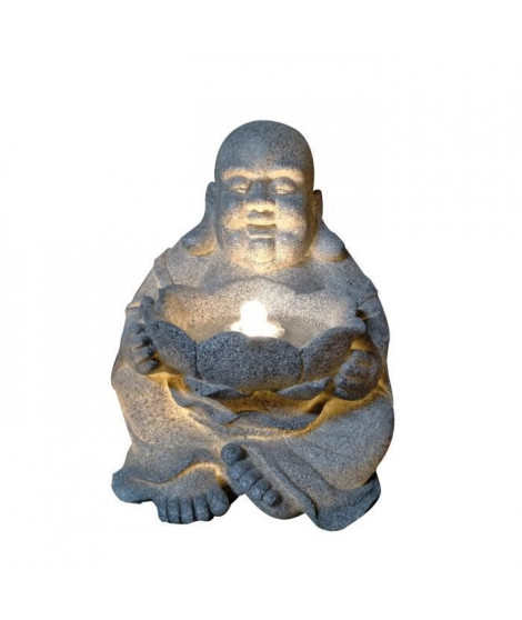 Fontaine lumineuse Happy Bouddha  - 4 LED - 31 x 32 x H39,5 cm - Polyresine - Gris - Transfo