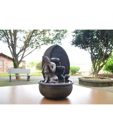 ZEN'LIGHT Fontaine d'intérieur Grace -  Fontaine Bouddha - Décoration Feng Shui - Eclairage LED - SCFR1716 - Marron