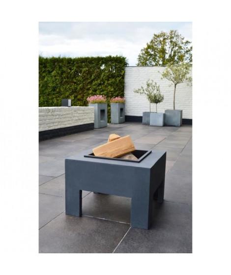 E'LITE Braséro avec table en fibre carrée 58x58x39
