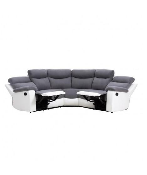 VOLUPTE Canapé d'angle de relaxation en simili et tissu 5 places - 291x262x101 cm - Gris et blanc
