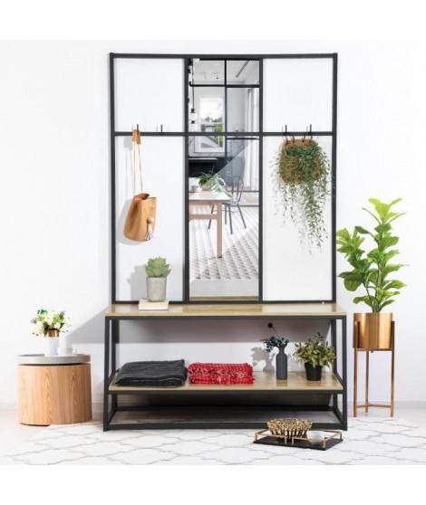 FACTO Meuble d'entrée avec miroir - Décor chene et noir - L 120 x P 40 x H 190 cm