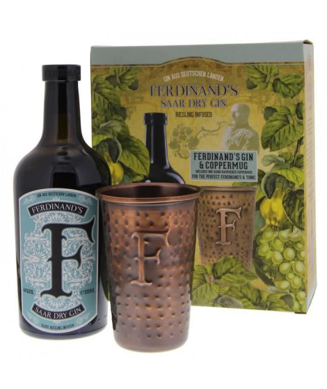Ferdinand's Saar - Dry Gin - 44% - 50 cl - Coffret avec 1 mug en cuivre