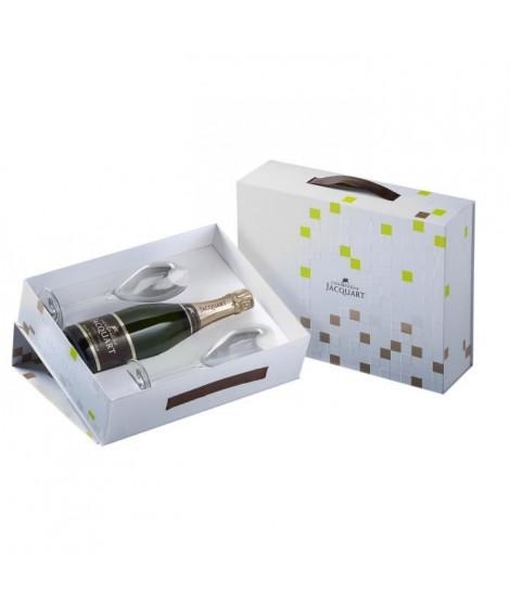 Coffret champagne Jacquart Brut Mosaique 75 cl + 2 flûtes