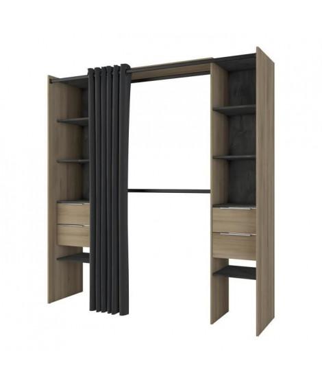 DANA Kit dressing 2 colonnes + 2 penderies + 4 tiroirs - Décor chene kronberg - L 115 x P 50,1 x H 203 cm