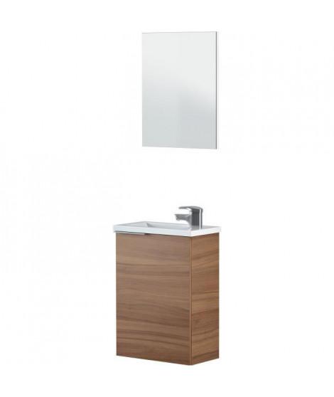 Meuble Lave main 40 cm 1 porte et 1 tiroir + vasque - Décor acacia