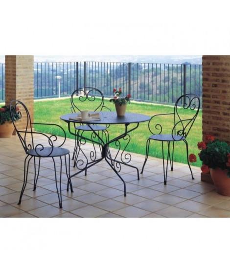Table de jardin romantique en fer forgé avec trou central pour parasol - 95 cm - Vert/Gris