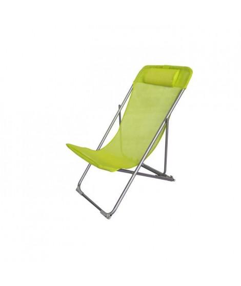 Fauteuil relax avec tetiere - Structure en acier et textilene - 3 positions - 57 x 56 x 74 cm - Vert