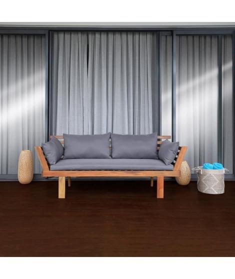 TAHAA Banquette de jardin en acacia - 3 places - coussins gris