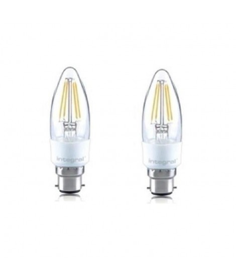 INTEGRAL LED Lot de 2 ampoules flamme B22 filament 4,5 W équivalent a 36 W 2700 K 420 lm