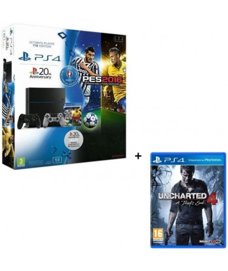 PS4 1 To Noire + PES Euro 2016 Jeu PS4 + 2eme manette DS4 20th Anniversaire +  Uncharted 4 : A Thief's End Jeu PS4