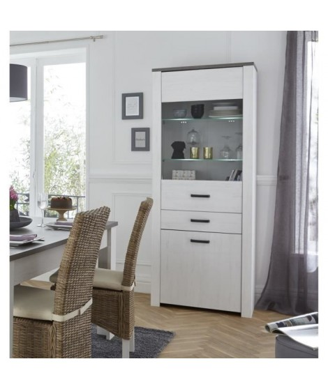 MARQUIS Vitrine 75 cm - Décor pin andersen, décor chene prata et blanc perle