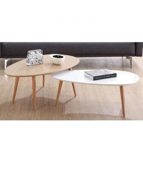 STONE Lot de 2 tables basses - Taupe et blanc laqué